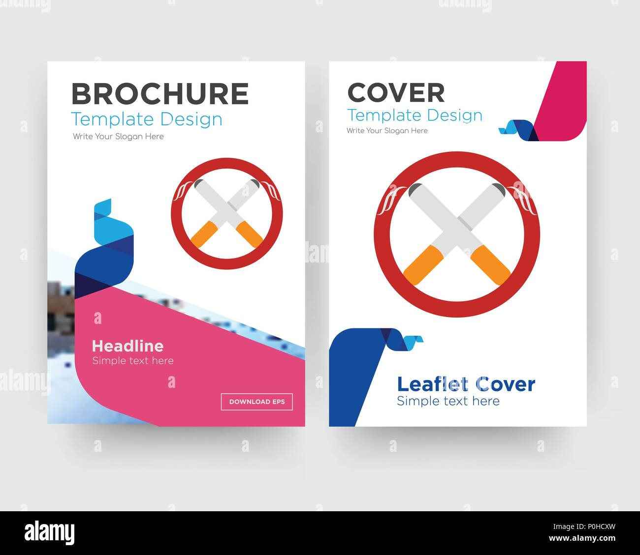 non smoking brochure flyer design template with abstract photo