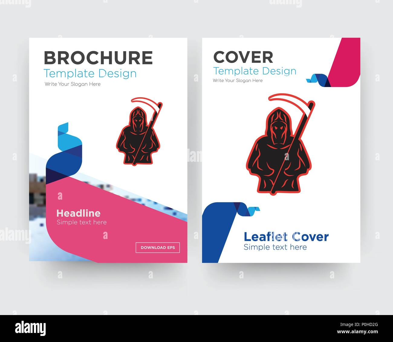 grim reaper brochure flyer design template with abstract photo