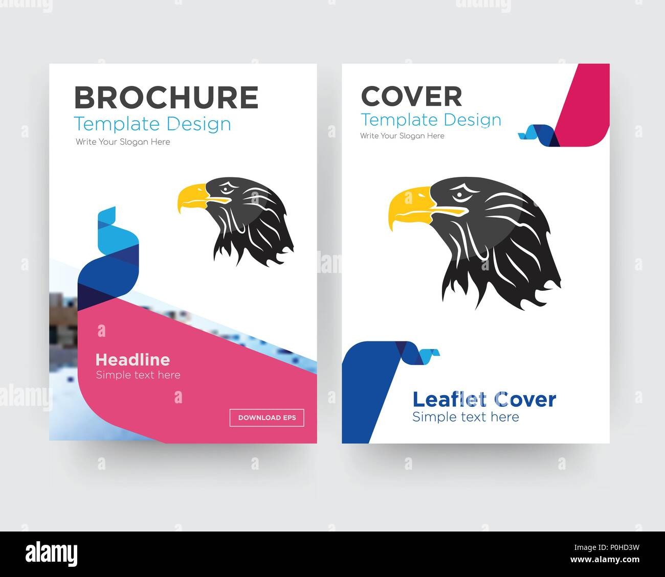 eagle head brochure flyer design template with abstract