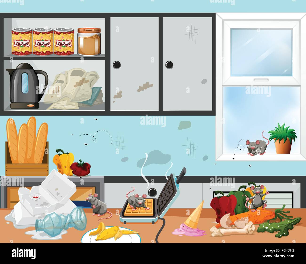 Messy Kitchen Stock Vector Images - Alamy