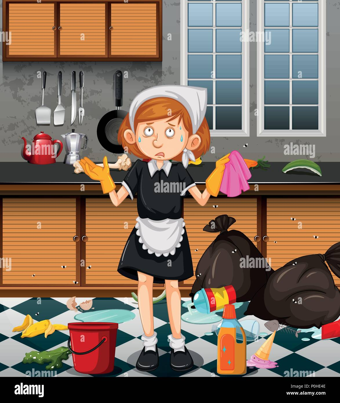 Kitchen Clean Up Cartoon: A Maid Cleaning Dirty Kitchen Illustration Stock Vector
