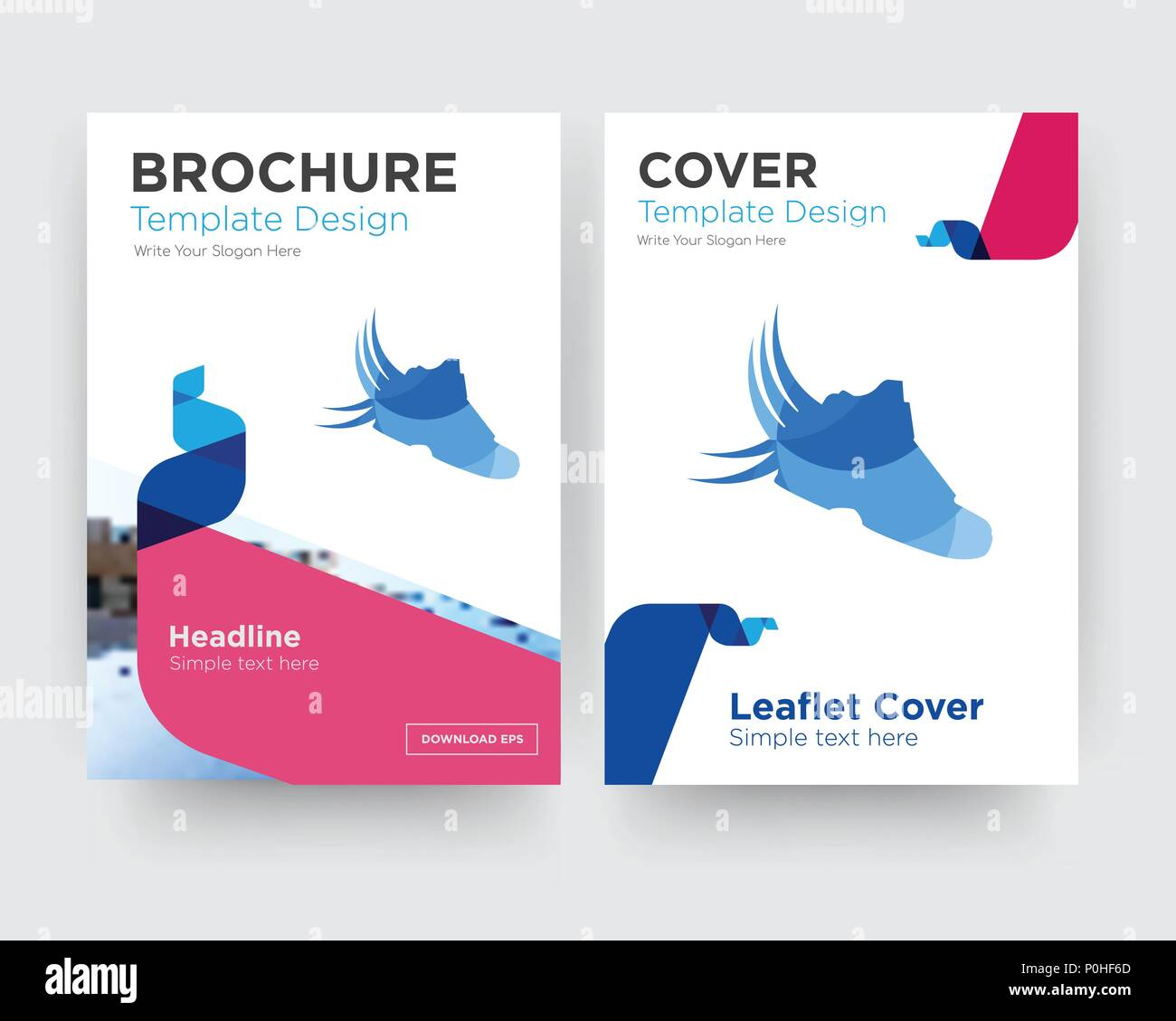 shoes with wings brochure flyer design template with abstract photo background, minimalist trend business corporate roll up or annual report Stock Vector