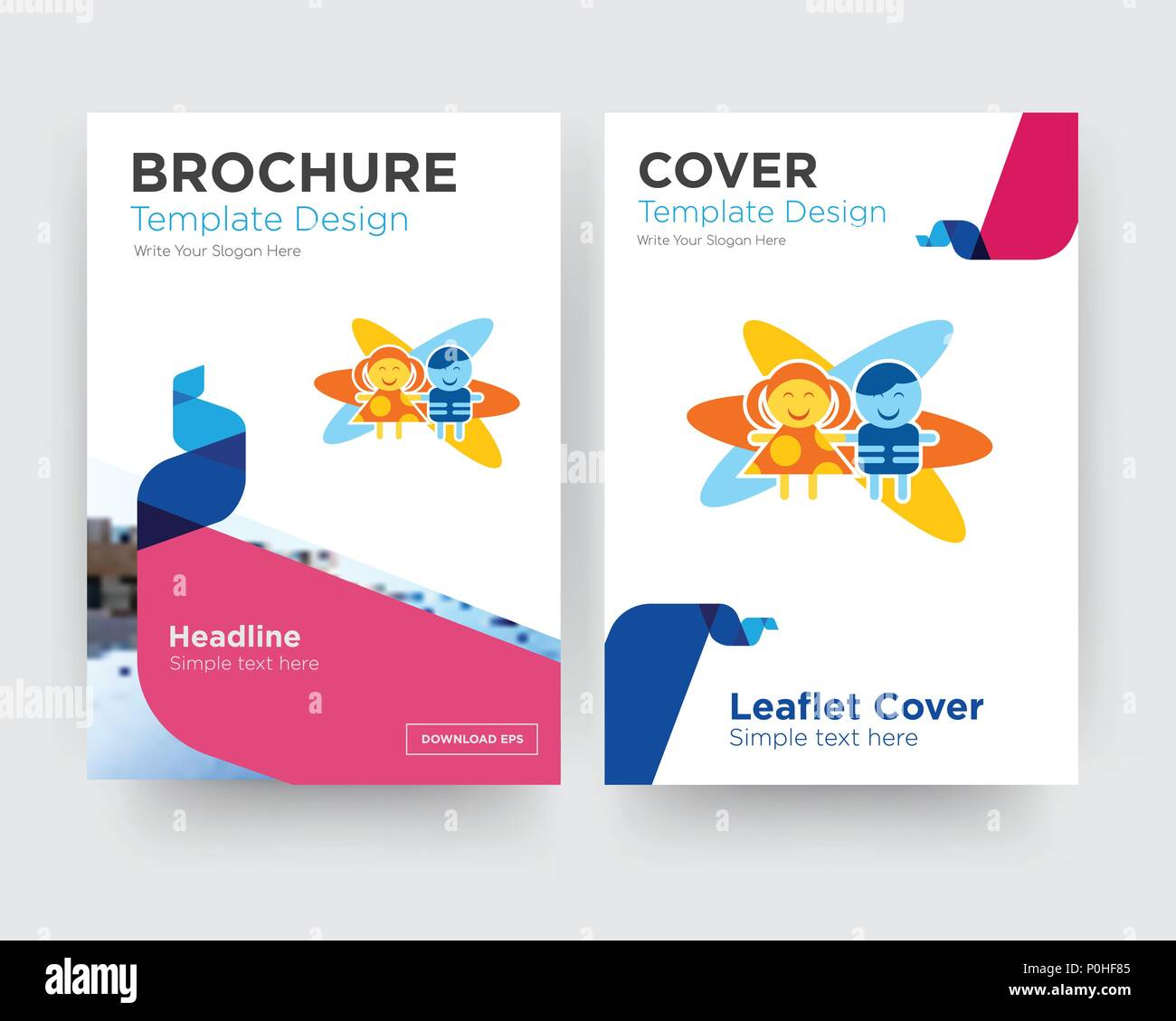 childcare brochure flyer design template with abstract photo background minimalist trend business corporate roll up or annual report