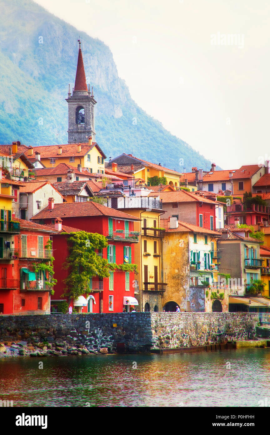 The small town of Varenna on Lago di Lecco, Lombardia, Italy. - Stock Image