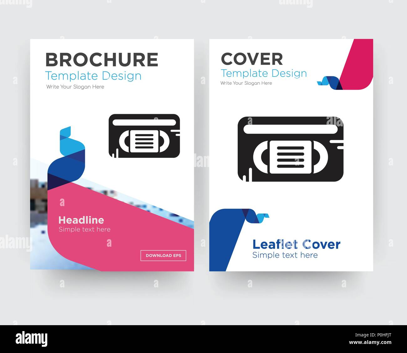 vhs brochure flyer design template with abstract photo background