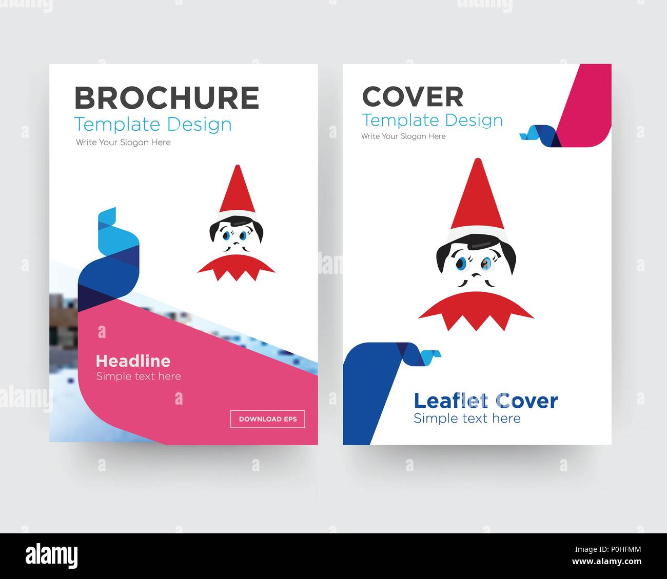 elf on the shelf brochure flyer design template with abstract photo