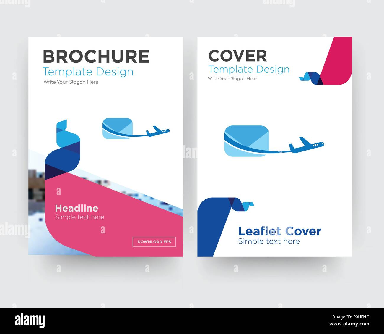 air mail brochure flyer design template with abstract photo