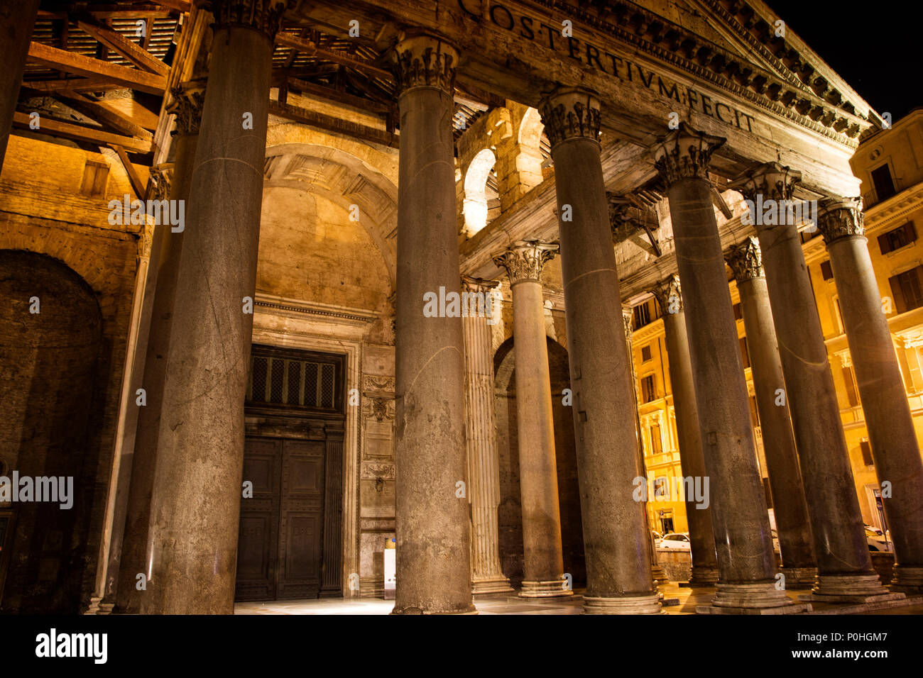 A nighttime visit to the Pantheon in Rome, Italy. - Stock Image