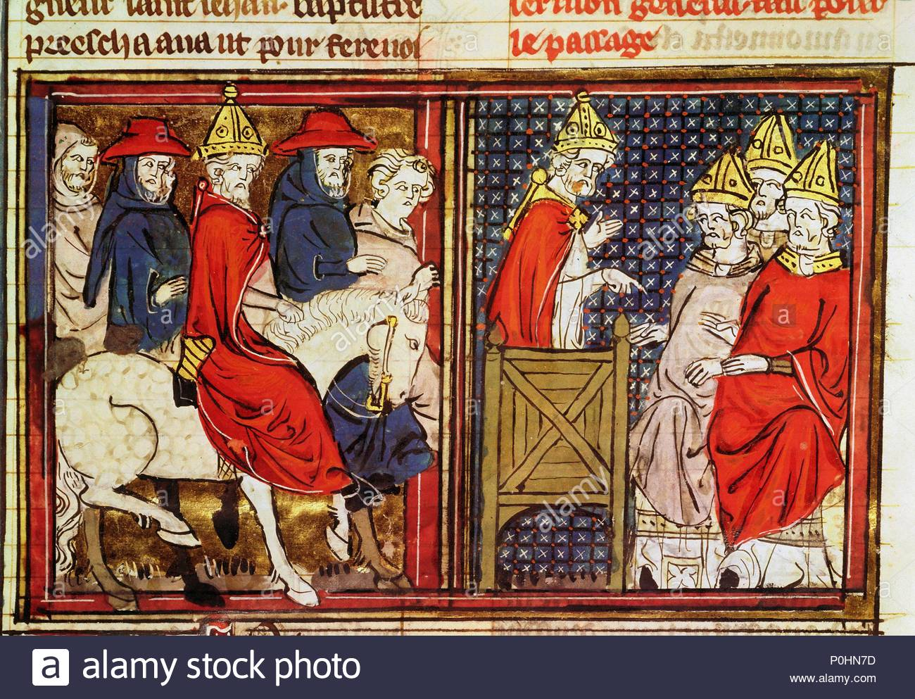 Arrival of Pope Urban II in France, for the Council of Clermont,1095. From the Roman de Godefroy de Bouillon, Ms 22495, fol.15 France,1337. Location: Bibliotheque Nat., Coll. des Manuscripts, Paris, France. Stock Photo