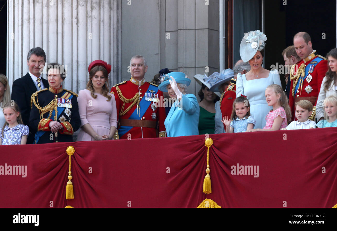 The British Royal family at the Trooping of the Colour 2018. Trooping the Colour marks the Queens official birthday. Trooping the Colour, London, June 09, 2018 Stock Photo