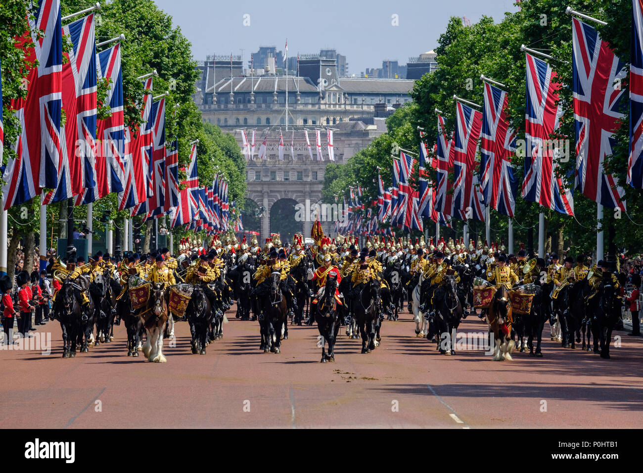 The mounted bands of the Household Calvary at Trooping the Colour and Queens Birthday Parade on Saturday 9 June 2018 in Buckingham Palace , London. Pictured: The mounted bands of the Household Calvary, return from Horseguards Parade. Picture by Julie Edwards. Credit: Julie Edwards/Alamy Live News Stock Photo