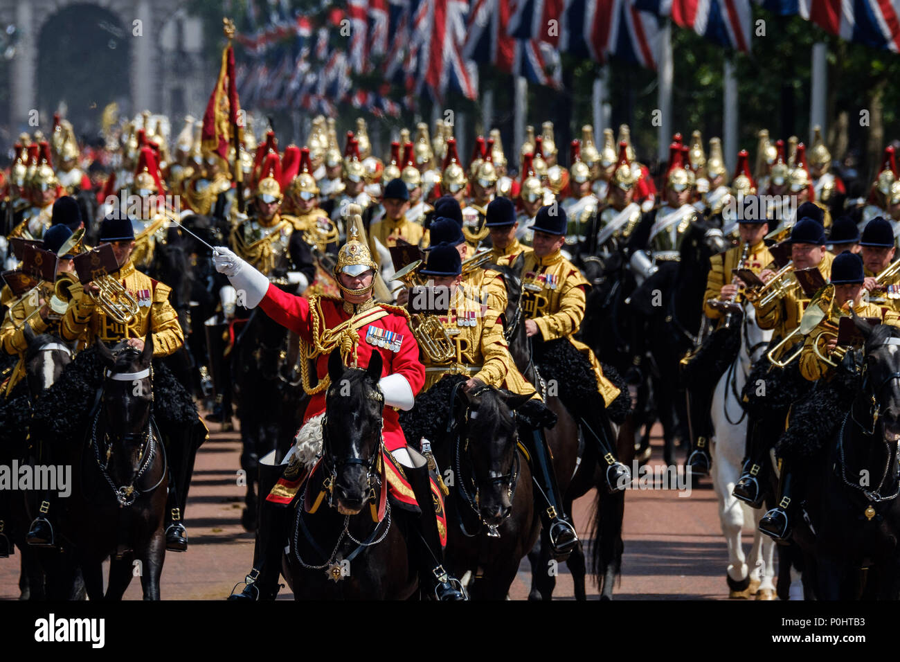 The Blues and Royals of the Household Calvary, Sovereign's Escort at Trooping the Colour and Queens Birthday Parade on Saturday 9 June 2018 in Buckingham Palace , London. Pictured: The Blues and Royals of the Household Calvary, Sovereign's Escort, return from Horseguards Parade. Picture by Julie Edwards. Credit: Julie Edwards/Alamy Live News Stock Photo