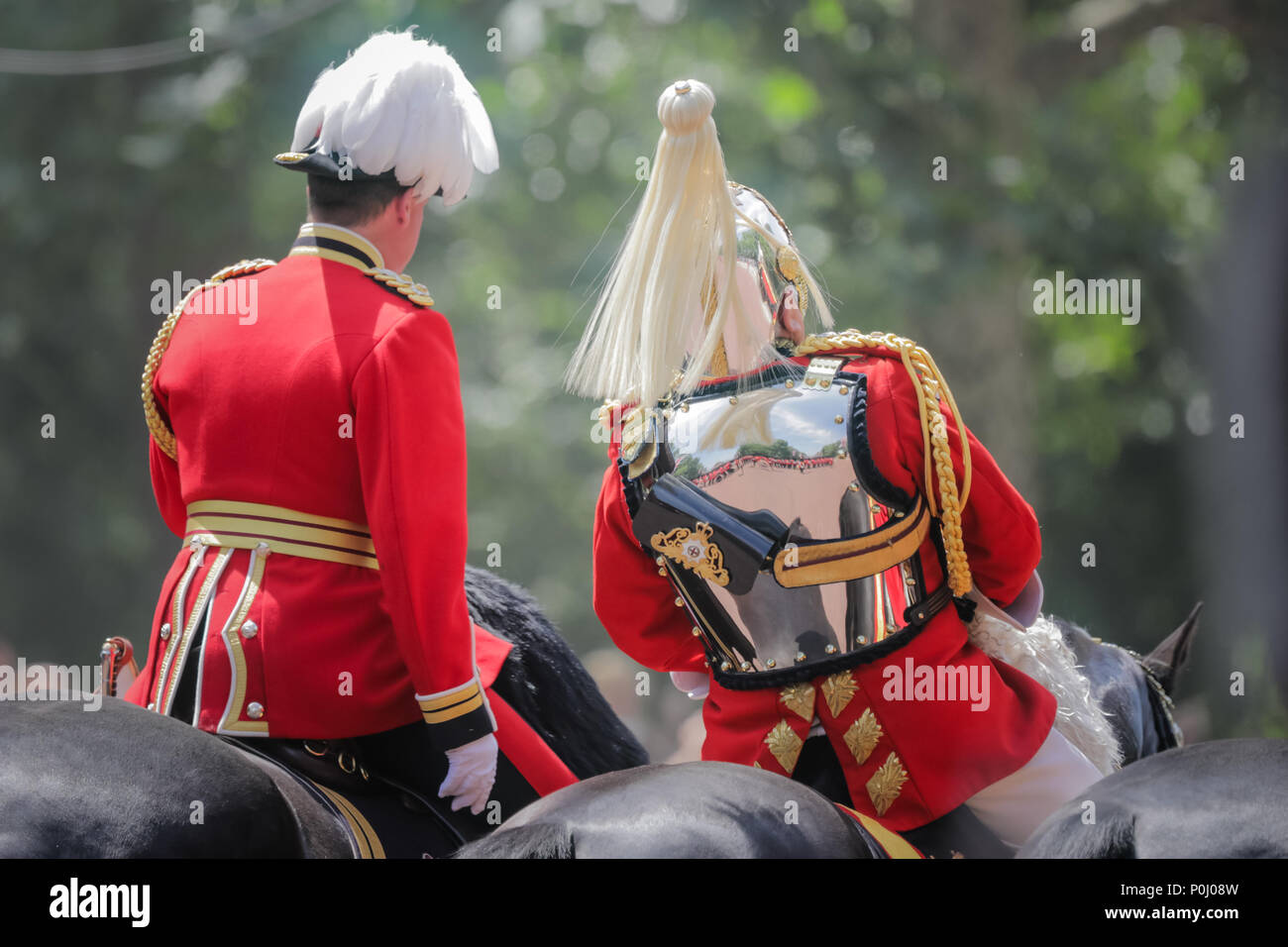 London, UK. 9th June 2018. Retired Chief of the Defence Staff, Field Marshal Lord Guthrie, 79, who began his military career in 1959 with the Welsh Guards, appears unwell as he passes Clarence House during the procession along The Mall at Trooping the Colour, The Queens Birthday Parade. London. Credit: amanda rose/Alamy Live News - Stock Image