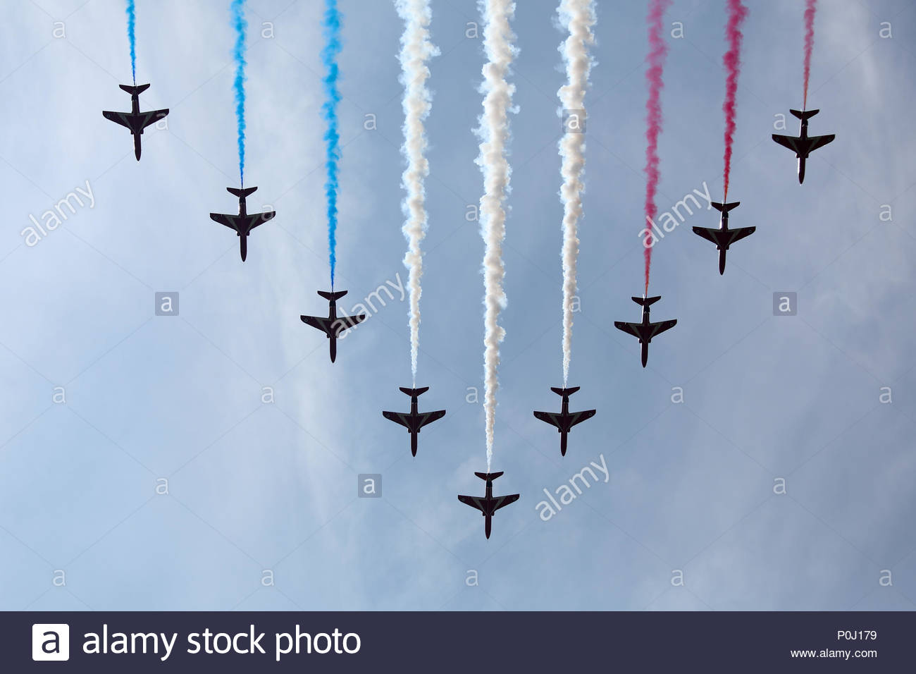 London, UK. 9th June, 2018. Red Arrows of the Royal Air Force flypast after the 2018 Trooping the Colour / Queen's Birthday Parade. Credit: Katie Chan/Alamy Live News Stock Photo