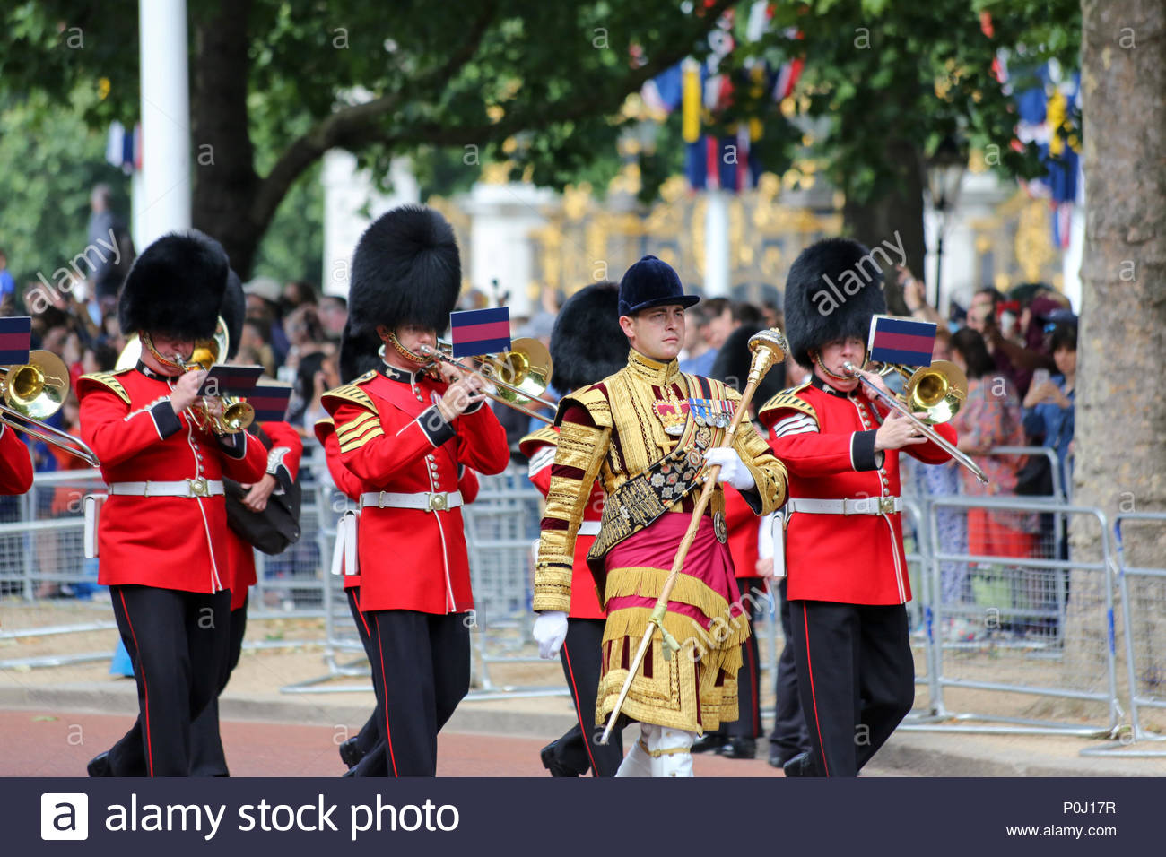 London, UK. 9th June, 2018. Senior Drum Major Damien P Thomas of the Grenadier Guards leading members of the Band of the Welsh Guards marching along The Mall. The 2018 Trooping the Colour / Queen's Birthday Parade. Credit: Katie Chan/Alamy Live News Stock Photo