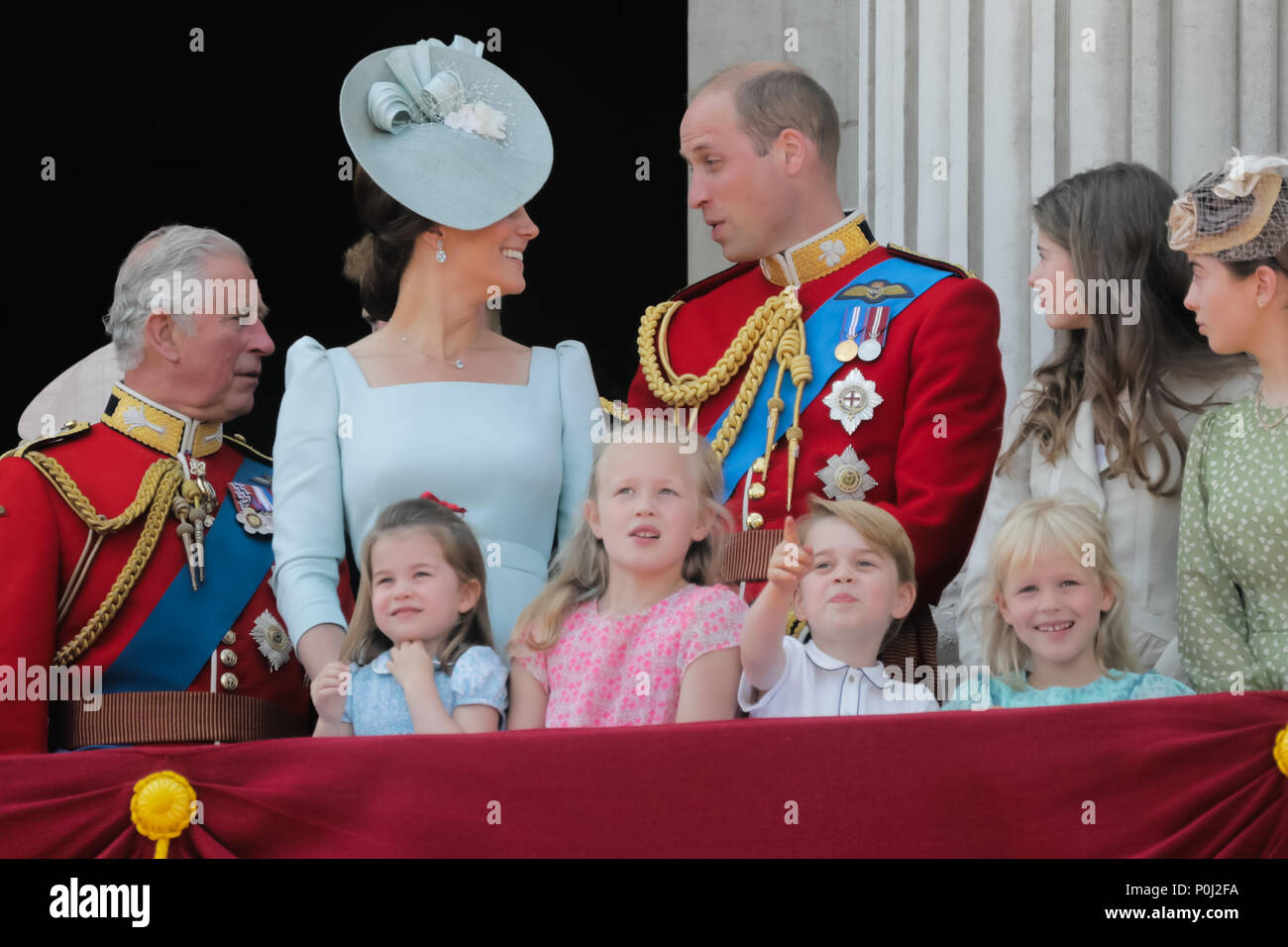 London, UK. 9th June 2018. Excited young Royals, L-R; Princess Charlotte of Cambridge, Savannah Phillips, Prince George of Cambridge and Isla Phillips enjoying the Trooping the Colour fly-past from the Buckingham Palace balcony. Credit: amanda rose/Alamy Live News - Stock Image