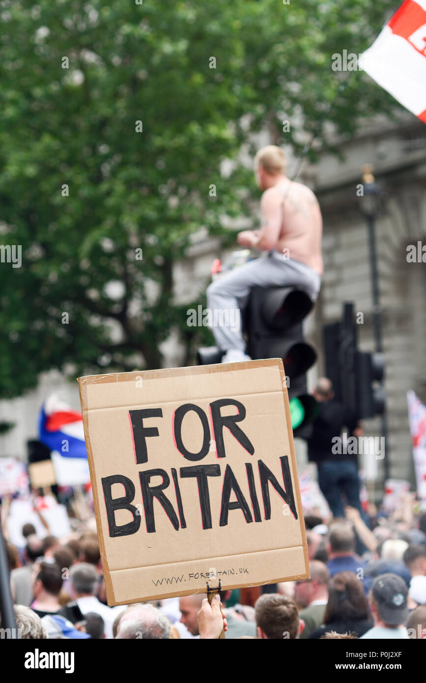 London, UK. 09th June 2018: Thousands attend a march and protest outside 10 Downing street calling for the release of journalist Tommy Robinson. Credit: Ian Francis/Alamy Live News Stock Photo