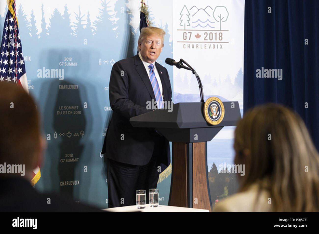 LA MALBAIE , QC - JUNE 08 & 09: President Donald J. Trump addresses the media on Saturday, June 9, 2018, during a G7 news conference at the Fairmont Le Manoir Richelieu in Charlevoix, Quebec, Canada  People:  President Donald Trump Credit: Storms Media Group/Alamy Live News - Stock Image