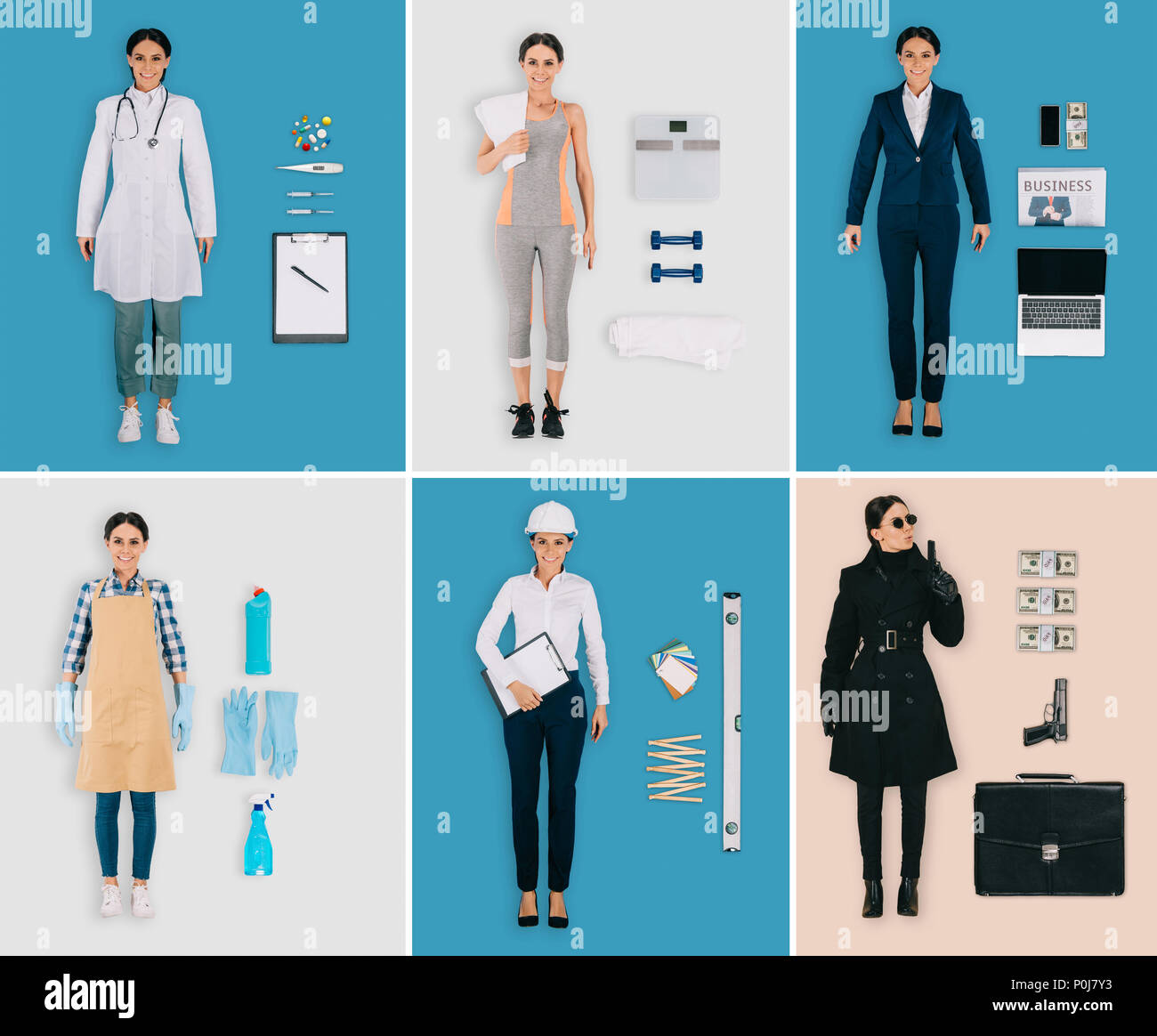 set of different professions: female doctor, sportswoman, cleaner