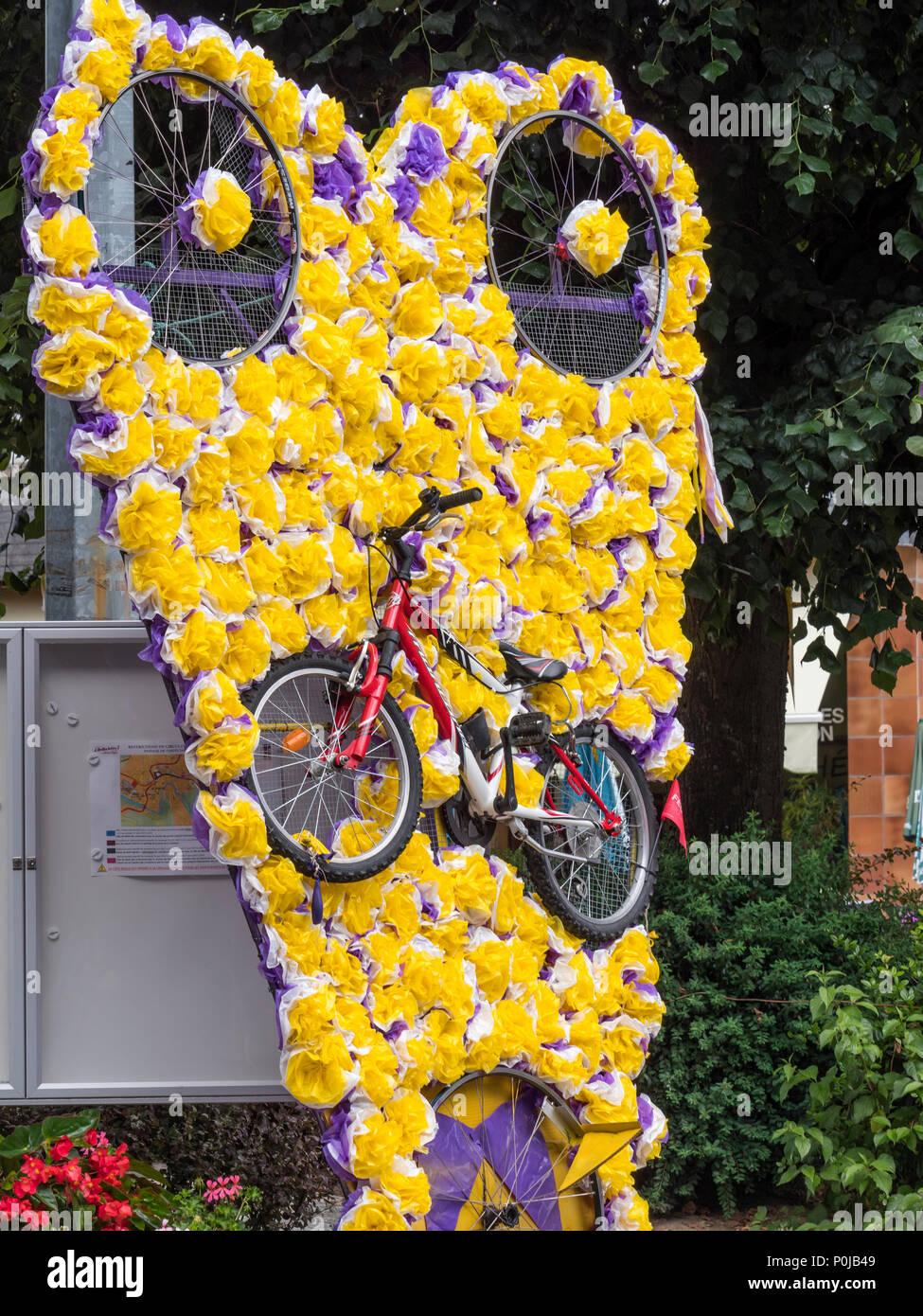 Street Flower arrangement Chambon sur Lignon Haute-Loire Auvergne-Rhône-Alpes France Stock Photo
