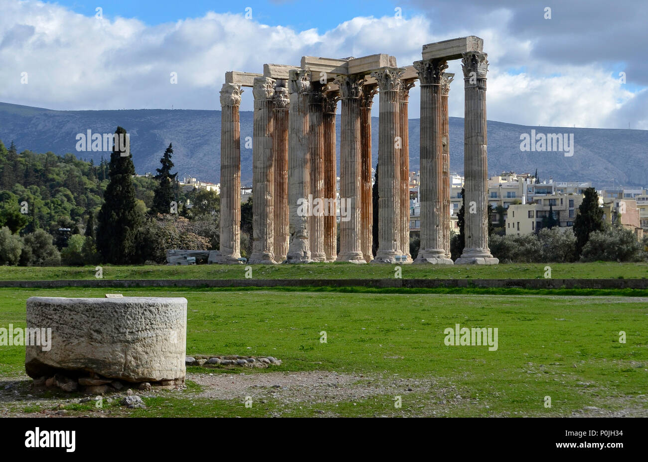 Roman Temple of Olympian Zeus in Athens, Greece - Stock Image