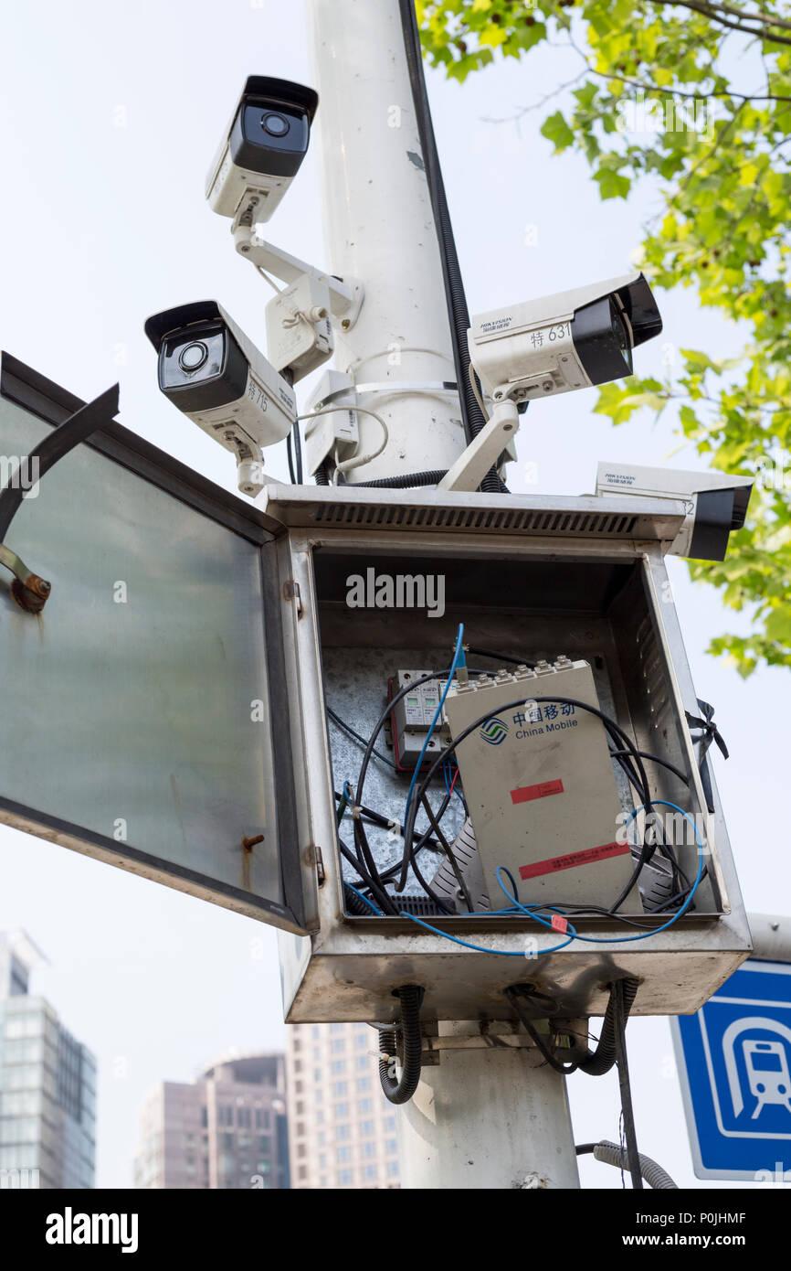 Yangzhou, Jiangsu, China.  Public Surveillance Cameras. - Stock Image