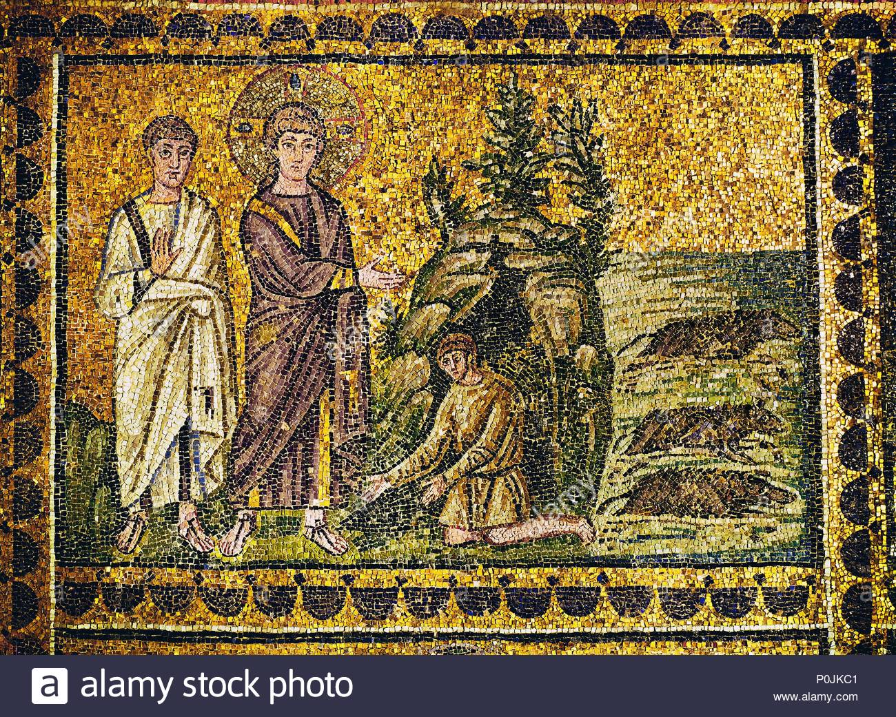 The Gadarene swine or the exorcism of two demons, (Mark 5: 1-10). Jesus and an apostle. Mosaic (6th). Location: Sant'Apollinare Nuovo, Ravenna, Italy. - Stock Image