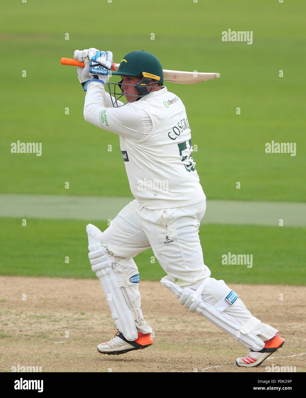 Leicestershire's Mark Cosgrove during day one of the Specsavers County Championship division two match at The County Ground, Northampton. - Stock Image