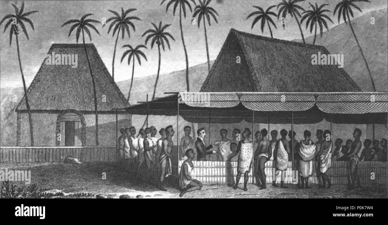 a missionary preaching to the natives under a skreen of platted