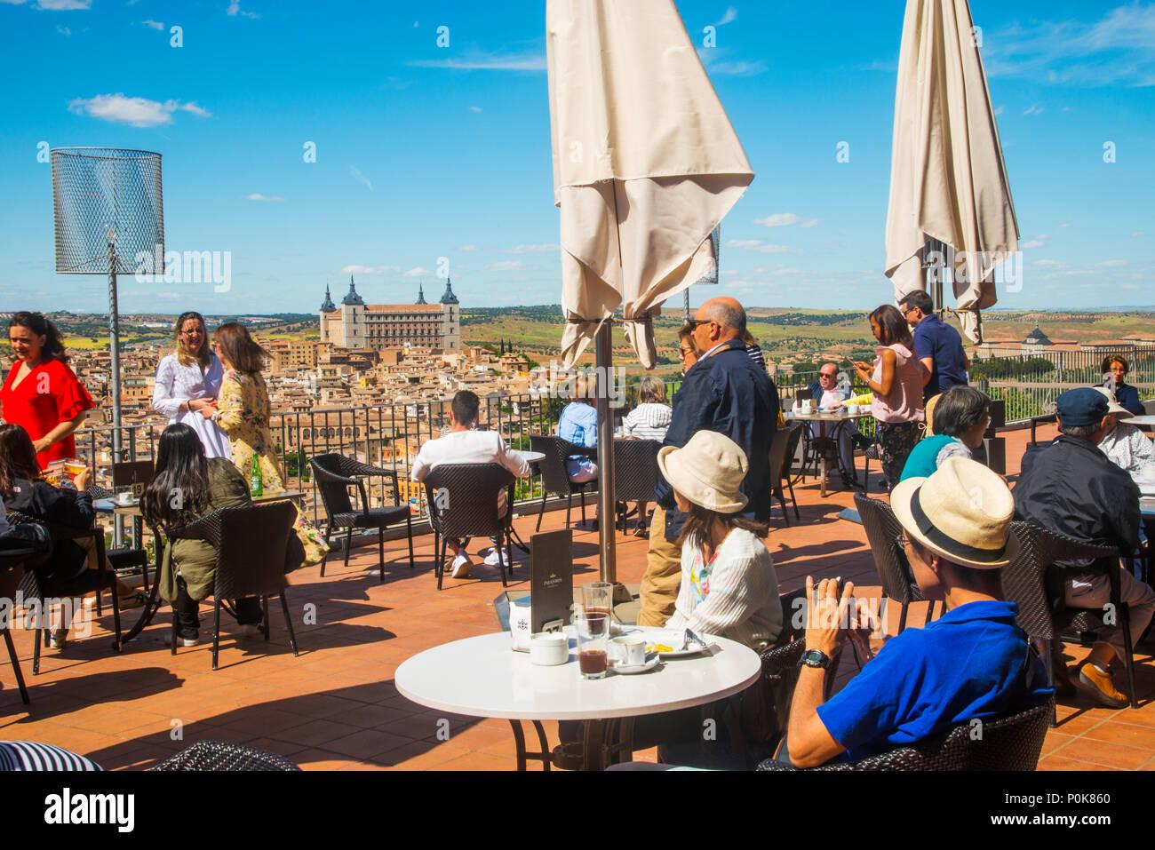 Tourists at the terrace. Parador, Toledo, Spain. - Stock Image