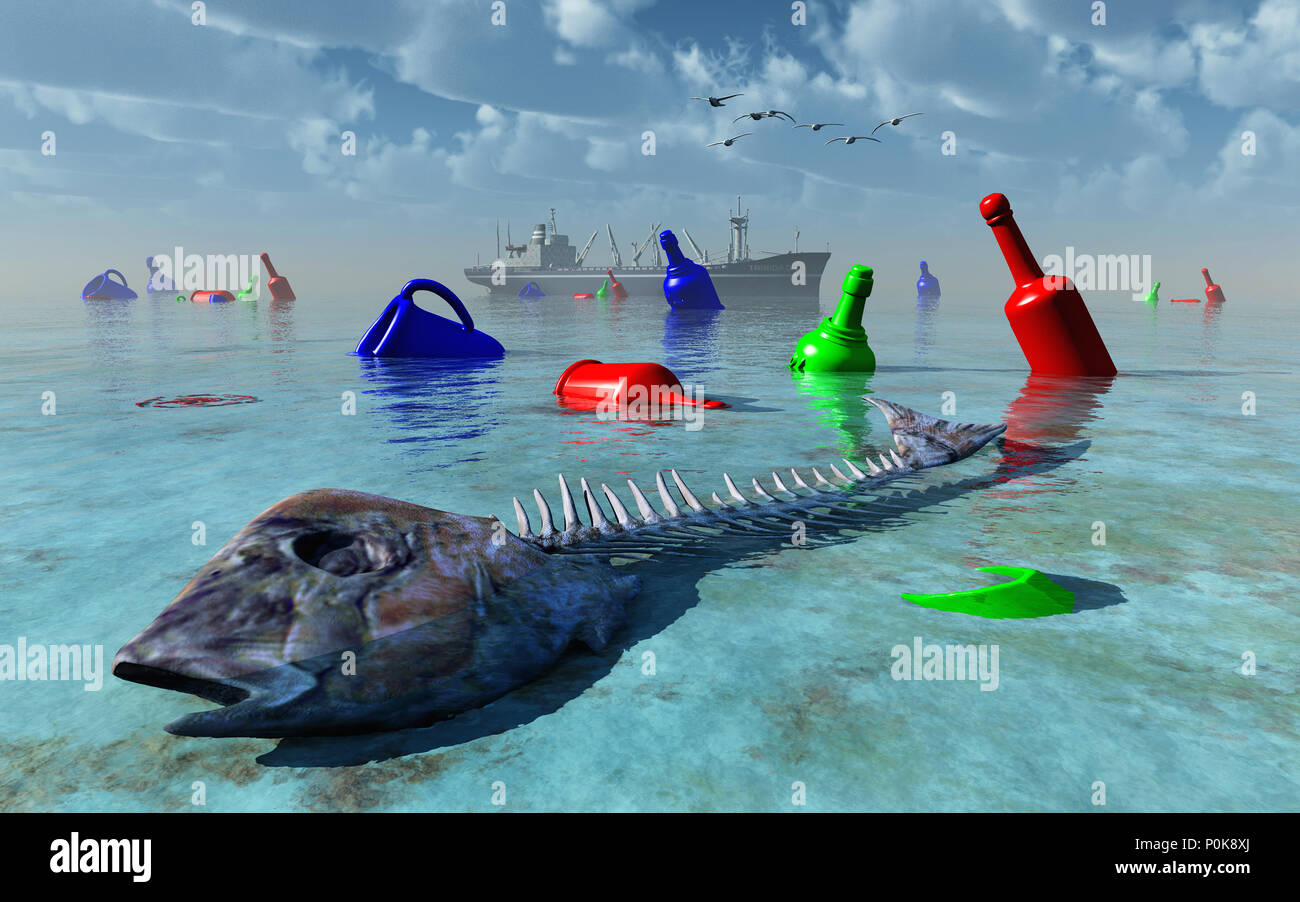 Plastic Objects Polluting Earths Seas & Oceans - Stock Image
