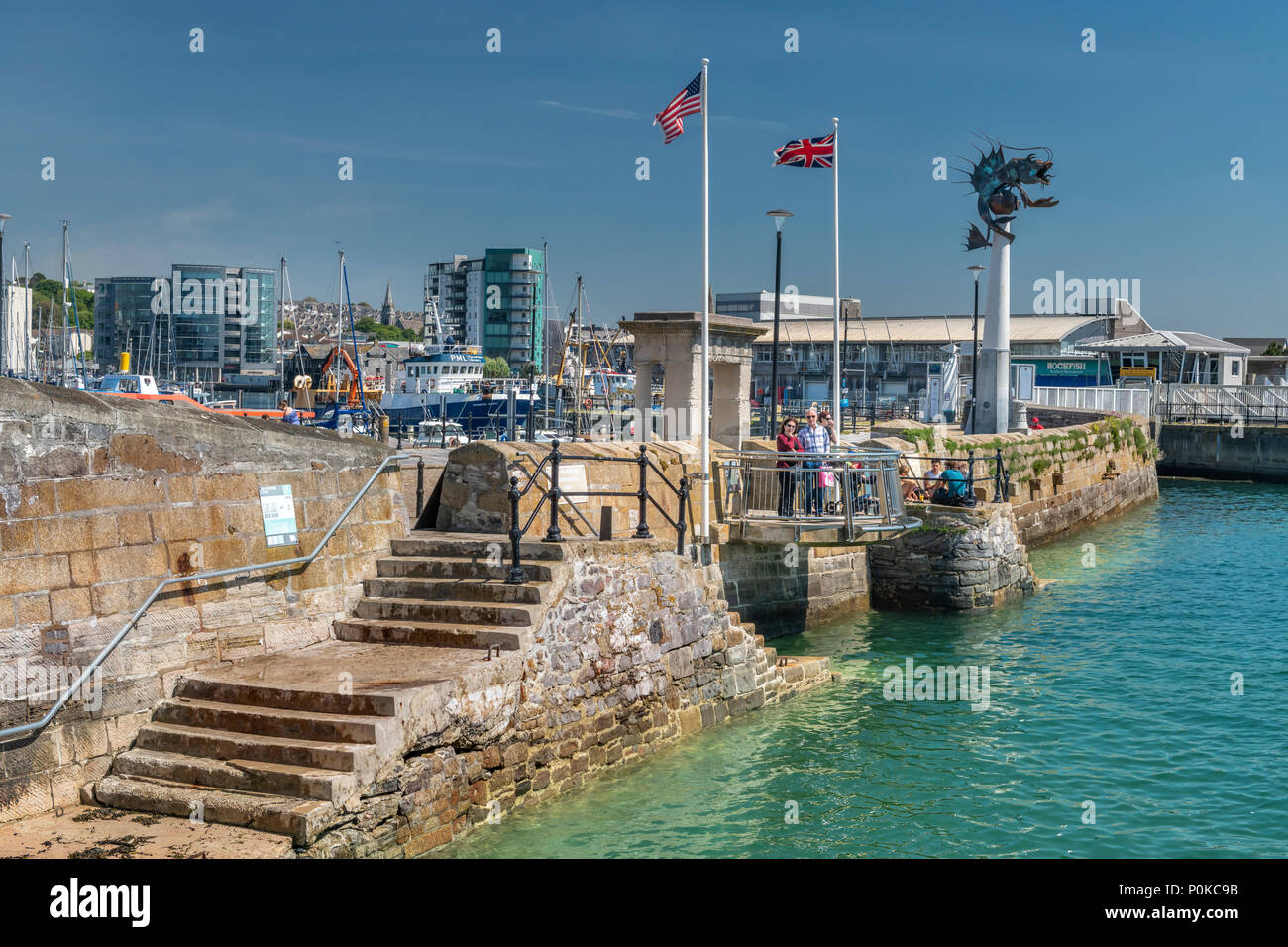The Mayflower Steps in Plymouth, England. Although not the actual site where the Pilgrim Father's departed, it is close enough to be a major attractio - Stock Image