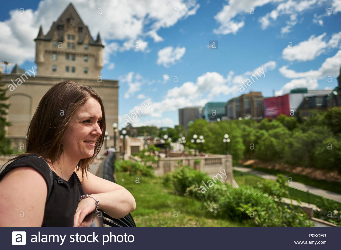 Tourist exploring city during spring season in Ottawa, Ontario, Canada 2017 - Stock Image