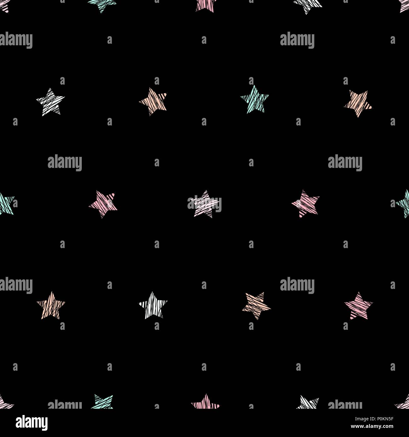 Star Texture Plain Seamless Pattern Black Background Pale Pink