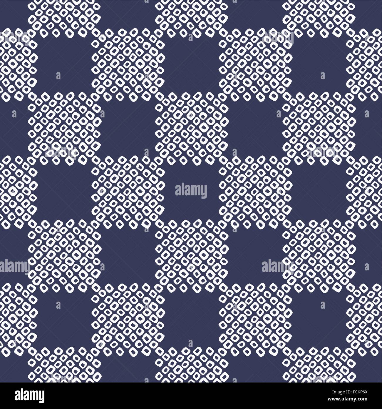 Checkered Shibori cloth motif  Japanese seamless pattern