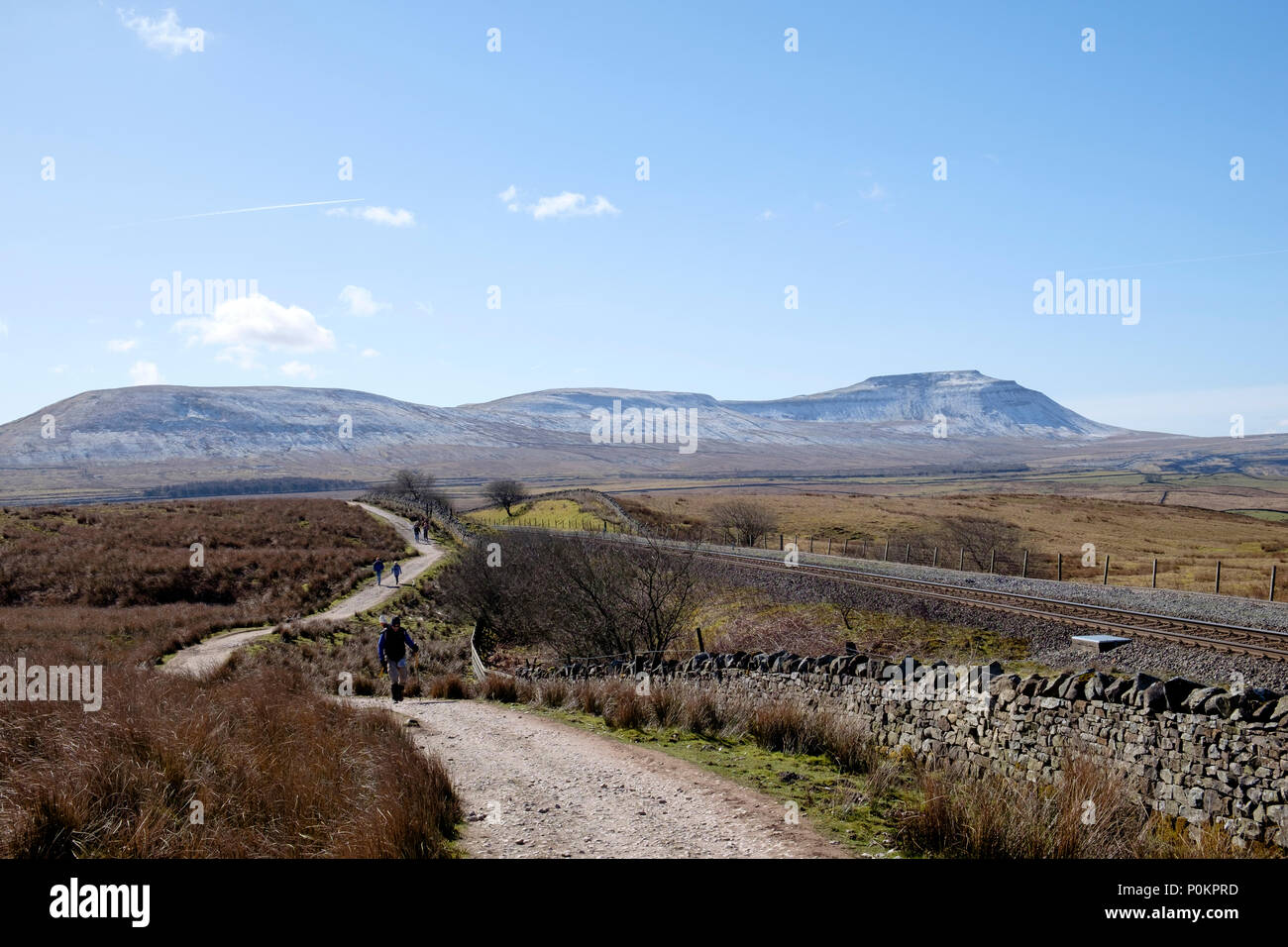 Ingleborough in distance from Ribblehead, Yorkshire Dales, England - Stock Image
