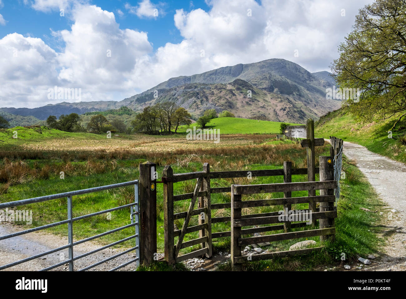 Wetherlam and signpost  from near Elterwater, Lake District, Cumbria, England Stock Photo