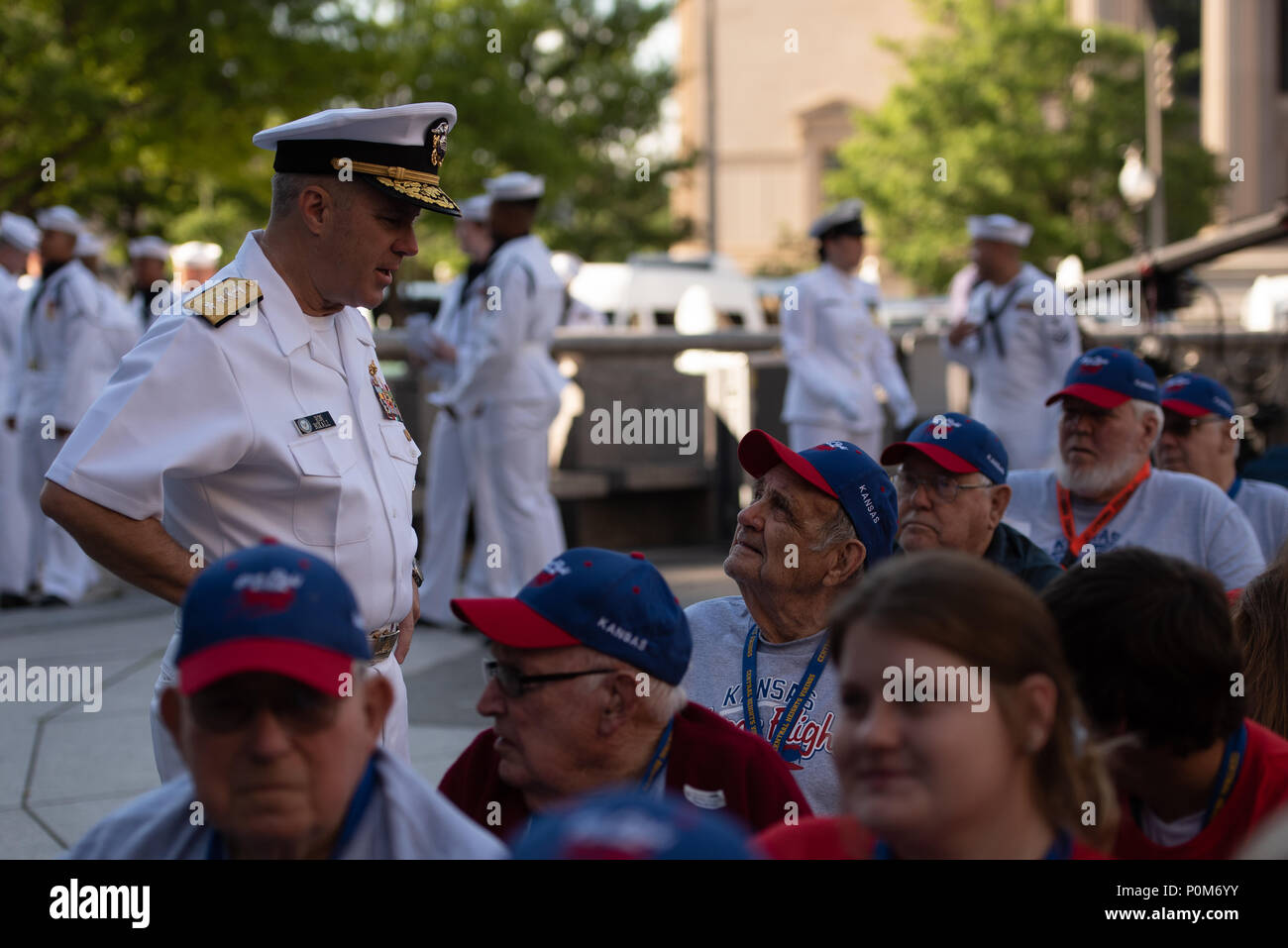 180605-N-HG258-1005 WASHINGTON (June 5, 2018) Members of the U.S. Navy Ceremonial band perform ceremonial music at the U.S. Navy Memorial in Washington, D.C., during the commemoration of the 76th anniversary of the Battle of Midway. The Battle of Midway began on June 4 in 1942 and stands as one of the U.S. Navy's most historically significant naval battles. Fought on the high seas of the Pacific more than half a century ago, this battle altered the course of the war in the Pacific and thereby shaped the outcome of world events. (U.S. Navy photo by Senior Chief Musician Stephen Hassay/Released) - Stock Image