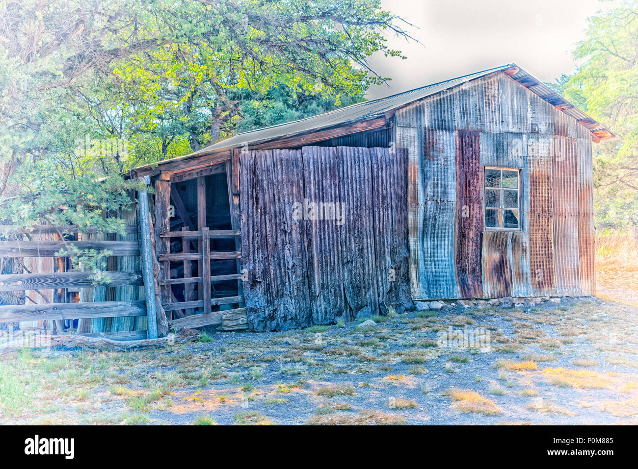 Faraway Ranch at Chiricahua National Monument, Willcox, Arizona. Photo processed with vintage effect. - Stock Image