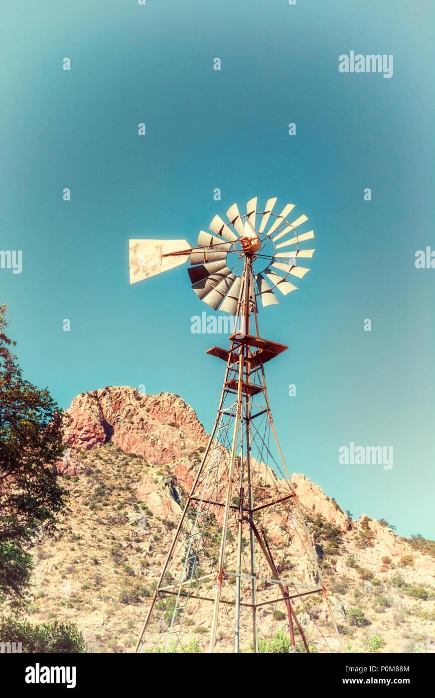 Windmill at Faraway Ranch at Chiricahua National Monument, Willcox, Arizona. - Stock Image