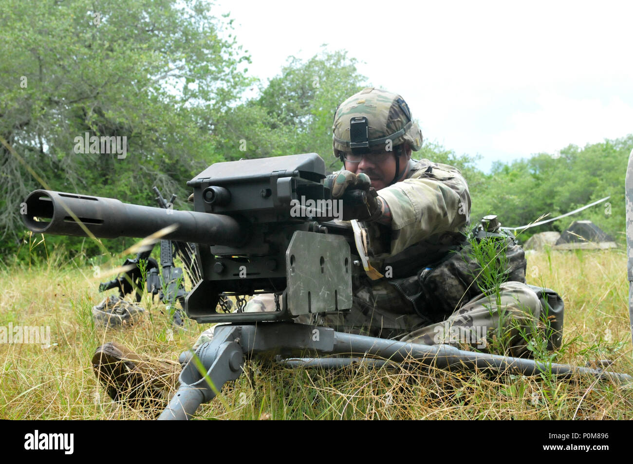 Soldiers From The 36th Infantry Division Headquarters Took Automatic Range Hood First Steps Toward Crew Serve Weapons Qualification During Annual Training June 4 2018 At Fort Texas Is Part