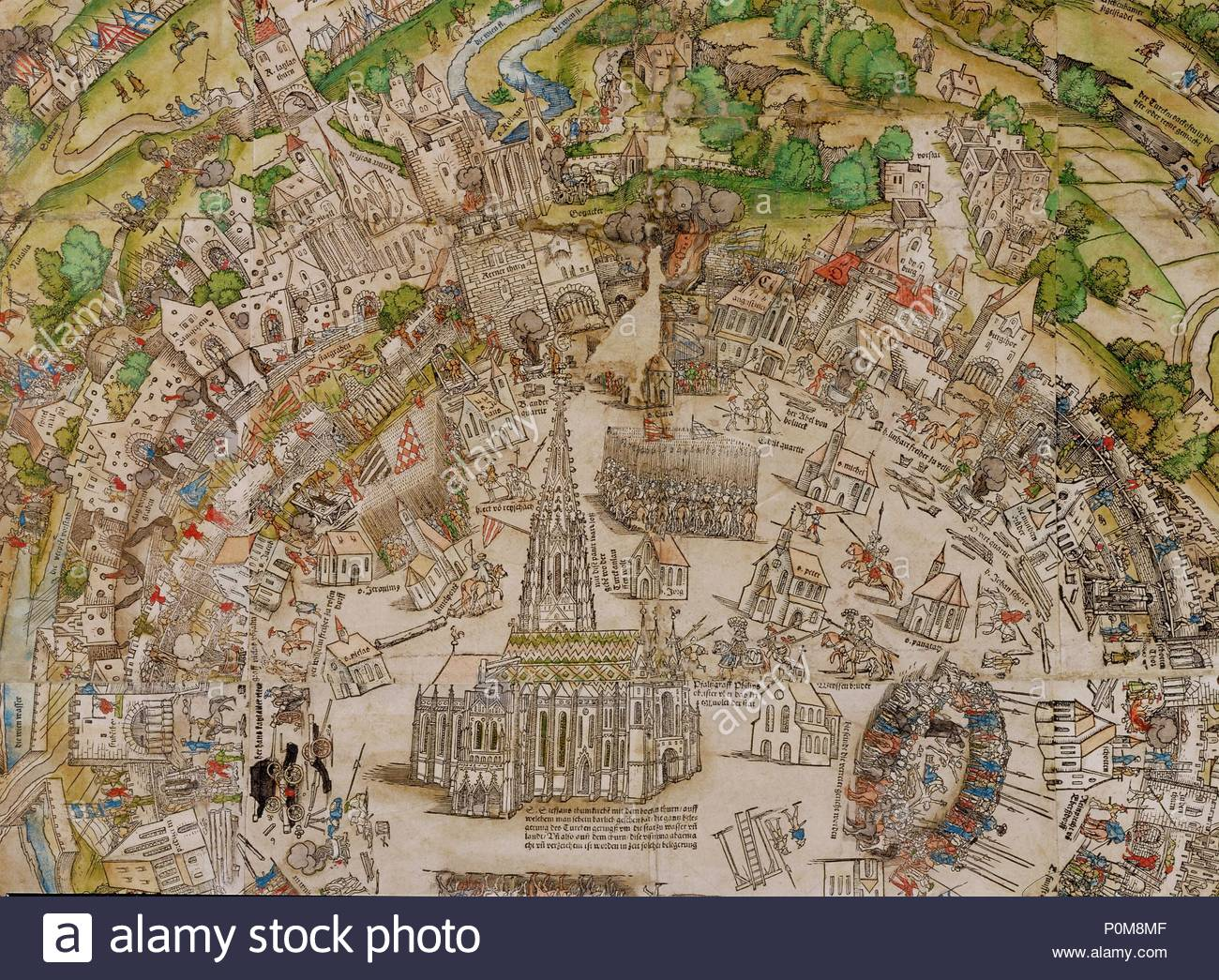 Birds-eye view of Vienna during the time of the first Turkish siege 1529,  by Niclas Meldemann,1530. Coloured woodcut (detail).