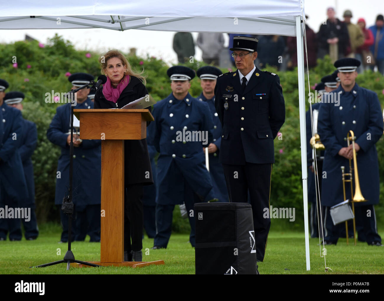 SAINTE-MARIE-DU-MONT, France (June 6, 2018) U.S. Ambassador to France Jamie McCourt speaks during the Utah Beach Federal Monument Ceremony. This year marks the 74th anniversary of Operation Overlord, the Allied invasion of Normandy on June 6, 1944 -- most commonly known as D-Day. An epic multinational amphibious and airborne operation, D-Day forged partnerships and reinforced transatlantic bonds that remain strong today. Overall, U.S. service members from 20 units in Europe and the U.S. participated in events and ceremonies May 30-June 7, 2018, in almost 40 locations throughout the Normandy re Stock Photo