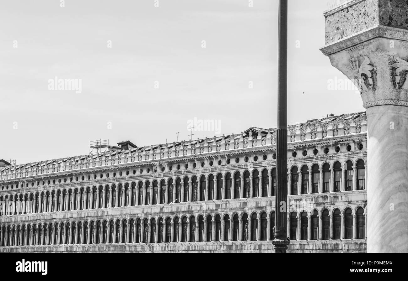 Arcades of Facade on Saint Mark Square in Venice, Italy - Stock Image