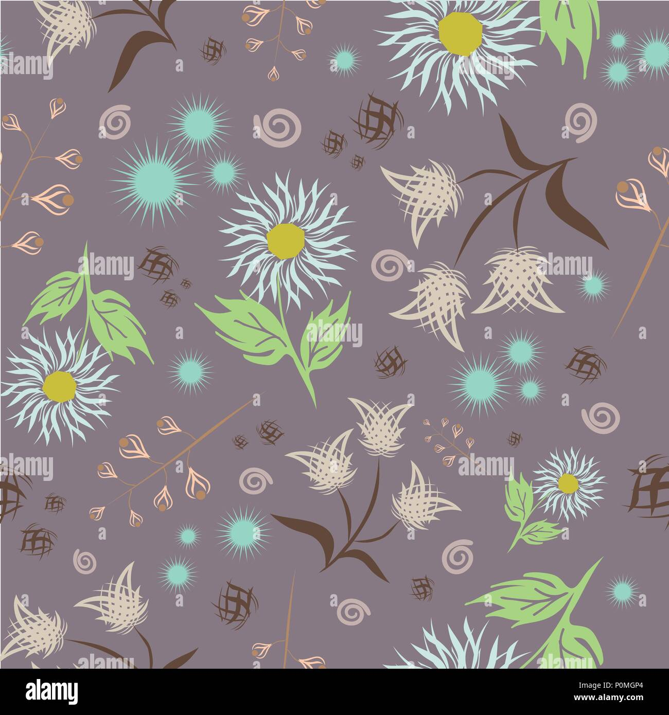 Seamless Floral Vector Pattern Modern Abstract Bright Colorful
