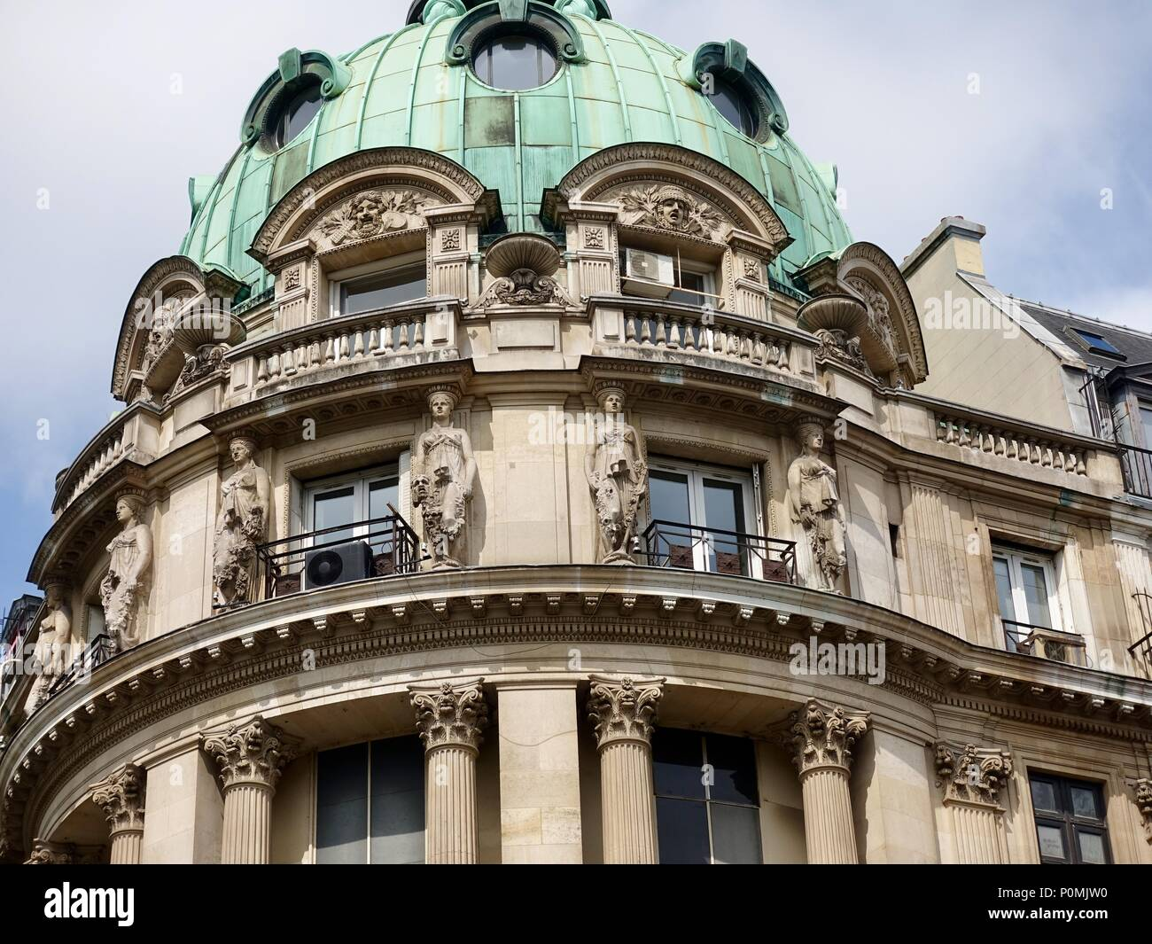 Domed top of the building housing the Gaumont Opera cinema, Paris, France - Stock Image