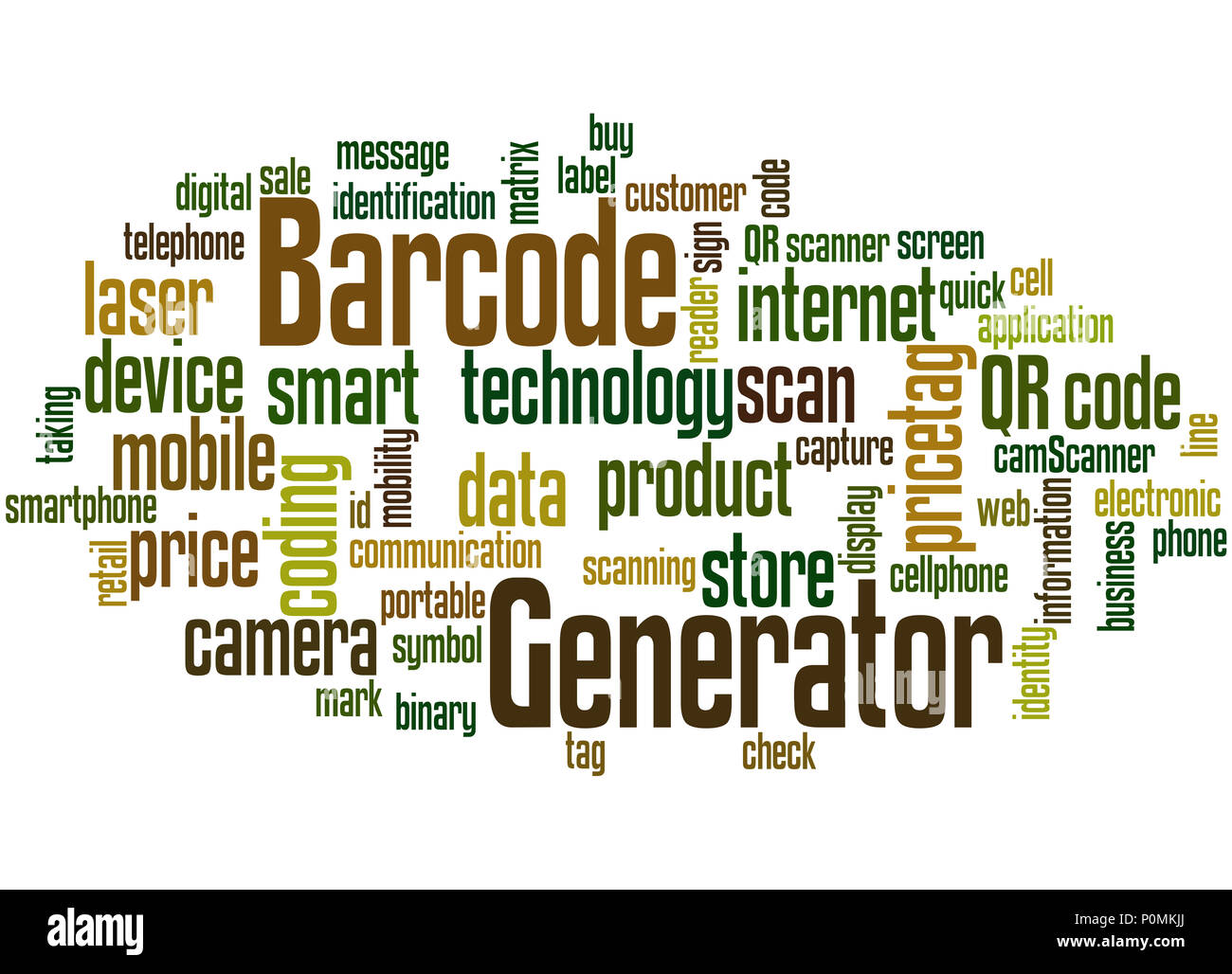 Barcode Generator ord cloud concept on white background Stock Photo