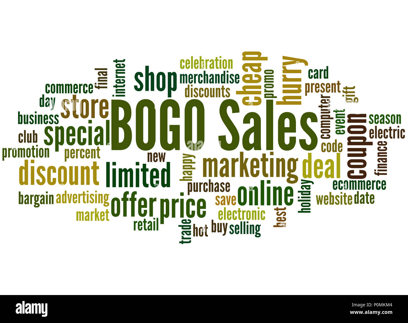 BOGO sales word cloud concept on white background  Buy One Get One