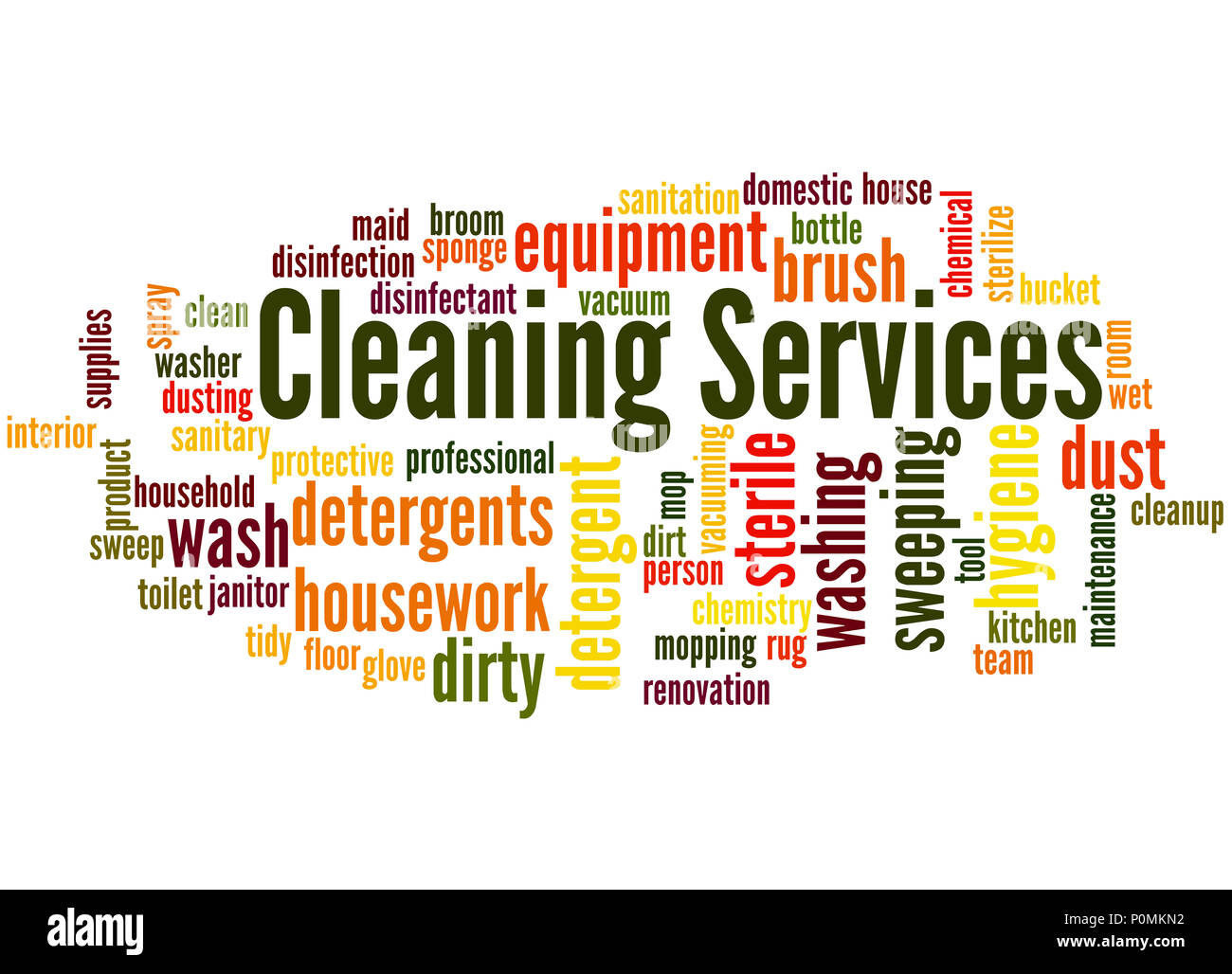 Cleaning Services Word Cloud Concept On White Background