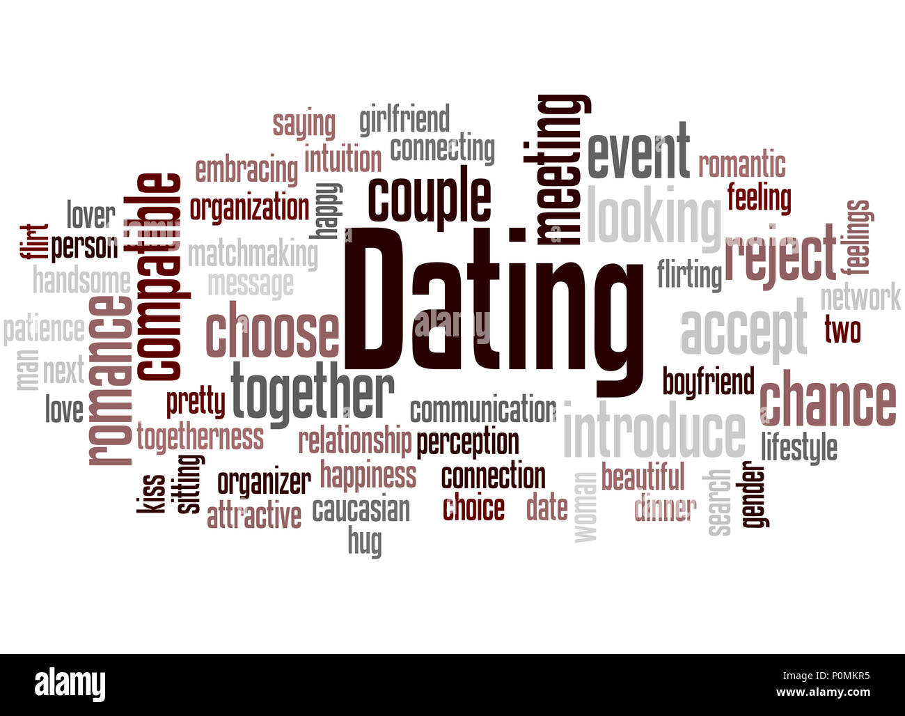 Dating word cloud concept on white background. Stock Photo